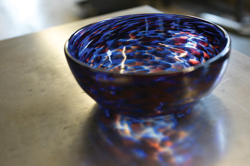 Students are asked to donate some of their finished pieces, like the bowl pictured above, back to the materials science and engineering department to be sold in McNutt Hall. The proceeds help fund future Hot Glass Shop projects.
