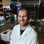 With funding from the National Science Foundation, Tyler Fears studies nanomaterials in Schrenk Hall.