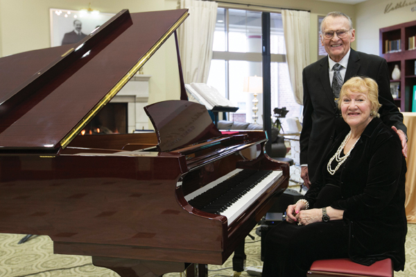 Bill, PetE'53, and June Patterson provided the baby grand piano in Hasselmann Alumni House, among other gifts to the Miner Alumni Association.