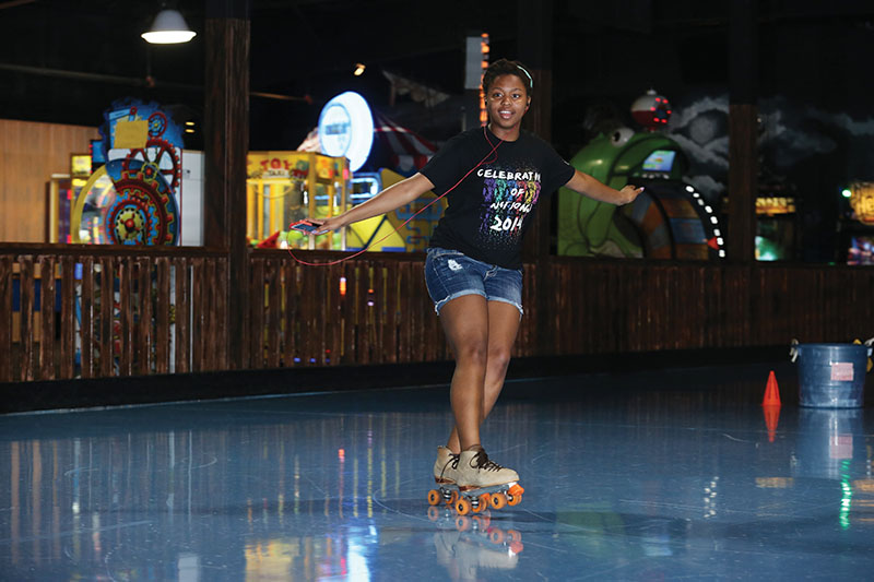 Armada Larue-Hill goes skating at The Zone in Rolla on April 9, 2015. Sam O'Keefe/Missouri S&T