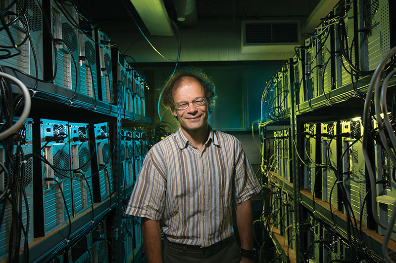 Physics professor Thomas Vojta with his super computer Pegasus II in the basement of the physics building. Sam O'Keefe/Missouri S&T