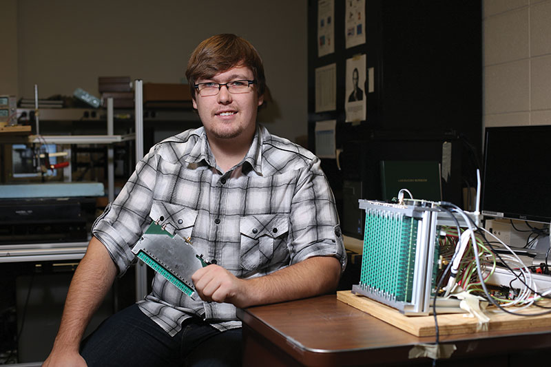 Matthew Horst, a graduate student pursuing a master's degree in electrical and computer engineering. He is currently helping to develop a 3-D real-time wideband microwave camera capable of producing 3-D images through the AMNTL on campus. Sam O'Keefe/Missouri S&T
