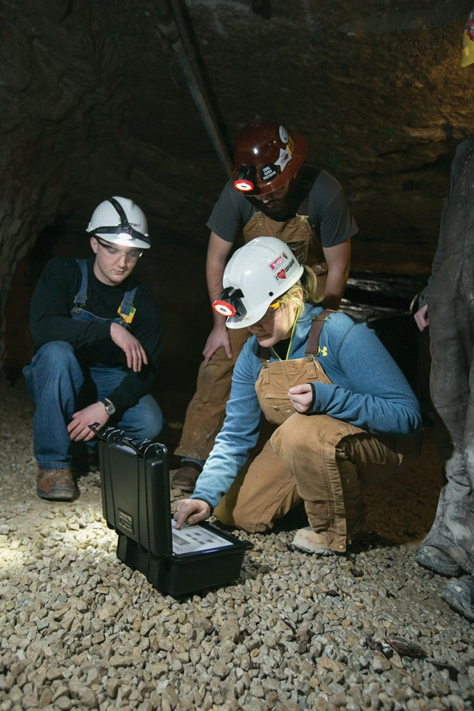 Under the guidance of Professor Stewart Gillies, Missouri S&T students use equipment provided by Doe Run in the experimental mine in Rolla. Sam O'Keefe/Missouri S&T