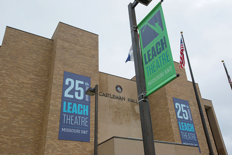 The Leach Theatre light pole banners and environmental graphics with the Miners Dig Deeper branding. Sam O'Keefe/Missouri S&T