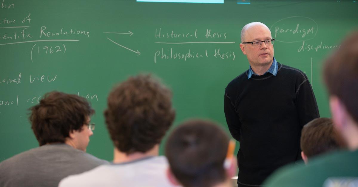Darin Finke teaches his philosophy class.