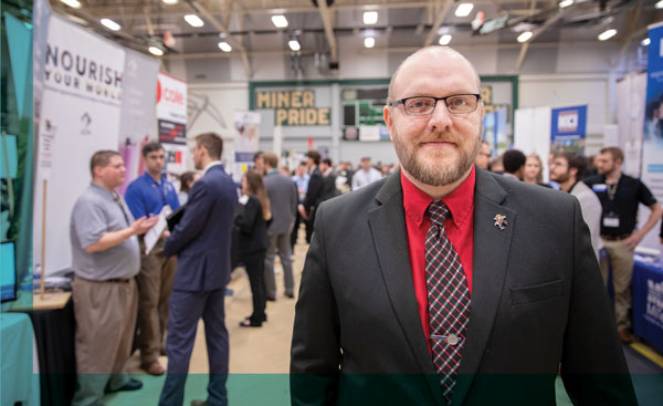 Will Zwikelmaier, director of career opportunities and employer relations (COER), at the Spring 2019 Career Fair.