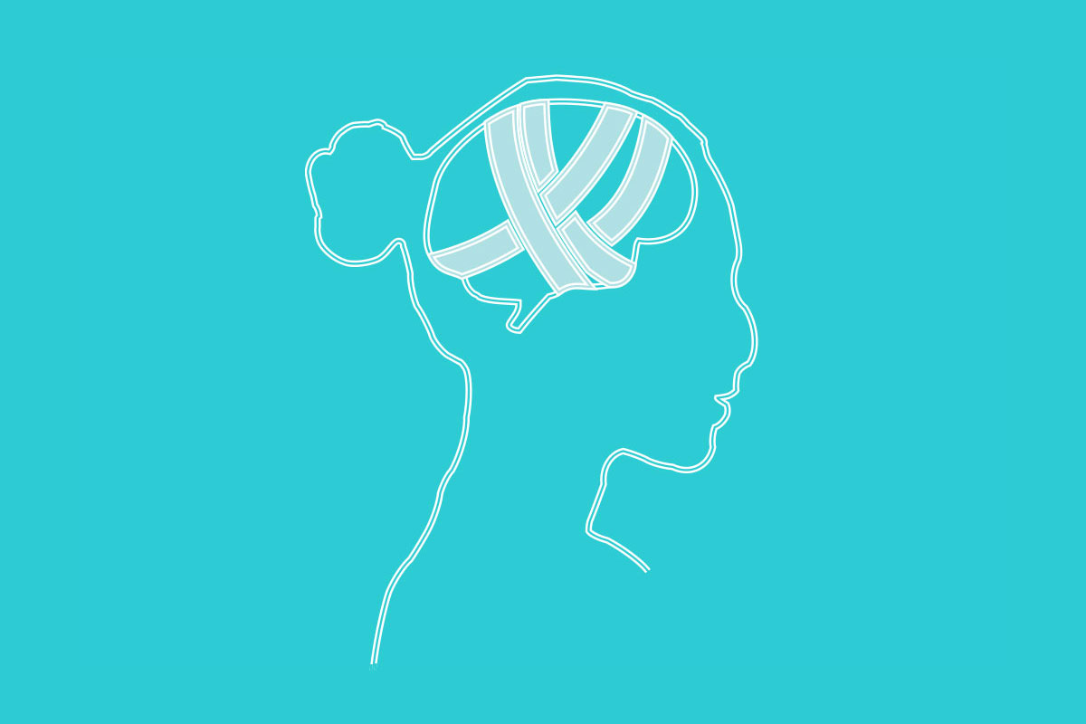 Line illustration of a female head with bandages implying a brain injury.
