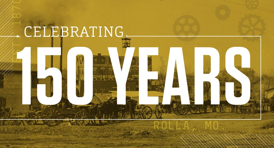 Celebrating 150 years white text on top of historic photo with a gold overlay.