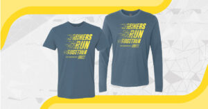 Gray short sleeve crew cut t-shirt overlaid on long-sleeve gray crewcut shirt with with Miners run together printed in yellow on the chest of each.