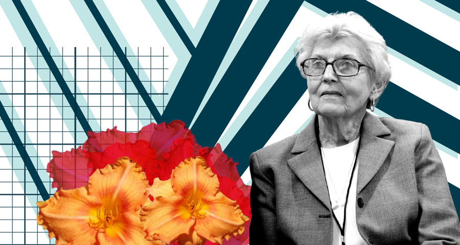 Cut-out of June Kummer portrait in black and white with daylilly overlays, background lines abstractly representing architecture